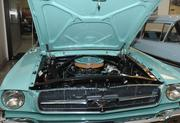 Open hood of 1965 'A' Code Ford Mustang convertible.