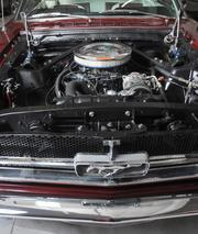 Under the hood of a 1965 red Ford Mustang.