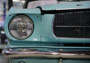 Close-up of 1965 turquoise 'A' Code Ford Mustang convertible.