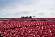 """Members of the media tour the new amphitheater at The Circuit of The Americas. The amphitheater  was nominated for the 2013 """"Best New Major Concert Venue"""" award by concert industry magazine Pollstar."""