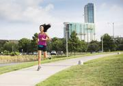 Kim Overton, founder of SBIbelt, jogs through Austin in this photo that accompanied a  profile of her and her company in August.