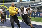 University of Missouri offensive lineman Jordan Hill practices in North Texas for Friday's AT&T Cotton Bowl Classic game.