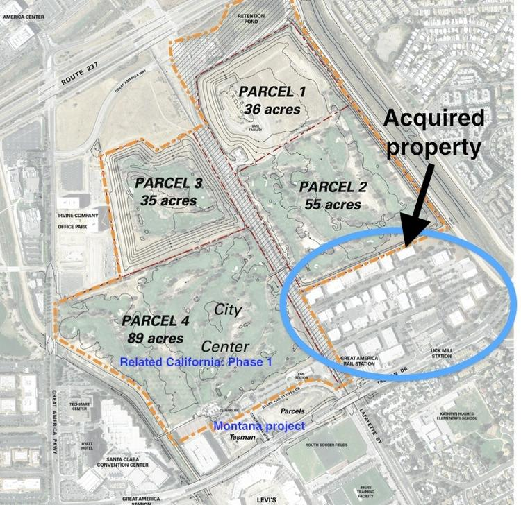 The circled area represents the 45-acre Tasman East industrial neighborhood that developers are hoping to transform into a residential community over time.