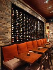 "A ""wine wall"" at Firebirds Wood Fired Grill."