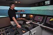 Dave Boldt, simulator group manager at Resolve Maritime Academy, shows how the ship simulator operates in rougher weather. This year Resolve struck deals with cruise line operators to train its crew. Read more about that here: http://bizj.us/u0jtn