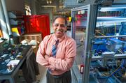Neville Pinto, dean of the J.B. Speed School of Engineering at the University of Louisville, was photographed in the Solar Energy Lab.