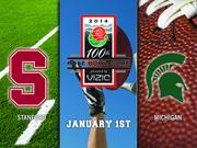 """Michigan State vs. Stanford  Nike is the exclusive athletic supplier for each university. Stanford's Nike contract is not a public record because it's a private institution.  Michigan State is required to provide Nike executives eight tickets in the """"best available location"""" to any bowl game in which it plays. Michigan State also must give Nike the opportunity to make """"celebration apparel"""" for the game. If Nike passes on the opportunity, Michigan State agrees that logos of a Nike competitor will not appear on celebration apparel.  Michigan State's Nike contract does not include incentive bonuses for playing in a BCS game."""