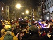 The crowd on 2 Street ringing in the New Year