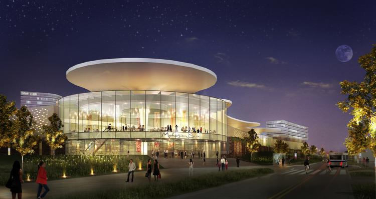 An artist rendering of the exterior of the proposed Mohegan Sun casino for Suffolk Downs.