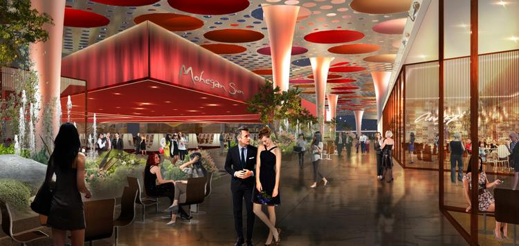 An interior rendering of the casino proposed for Suffolk Downs by Mohegan Sun.