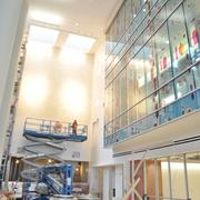 The lobby area of the new UHS ER tower features art as part of the Salud-Arte program, in which 75 artists create pieces for both this new tower and the newly renovated Robert B. Green campus downtown.