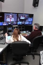 Engineers and producers monitor the taping of the show in KETC's control room.