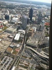 An overall view of Downtown's Northbank down to EverBank Field.