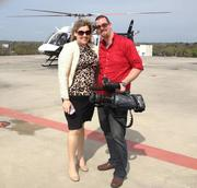 Reporter Ashley Gurbal Kritzer with news partner Action News Jax's camera man.