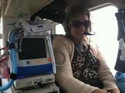 Reporter Ashley Gurbal Kritzer inside the trauma helicopter.