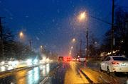 The snowfall started just in time to slow Thursday's evening commute throughout the region.