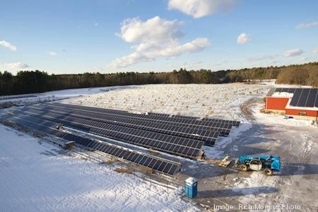 The solar installation now taking place at Stonehill College.