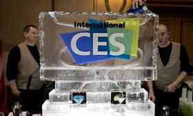 A bartender pours a martini though an ice sculpture during a press event prior to the 2013 Consumer Electronics Show in Las Vegas. The CES trade show, which kicks off again this week, is the world's largest annual innovation event that offers an array of entrepreneur focused exhibits, events and conference sessions for technology entrepreneurs.