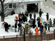 Fans tailgated at a home near Lambeau Field before the game.