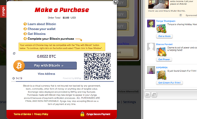 A screen capture from Zynga's new purchase screen now accepting Bitcoins.