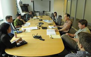 Executives meet this week to discuss an efficiency program being developed by the PUC. From left, Traci Ho Kim, State Energy Office, DBEDT, Robert Harris, director, Sierra Club Hawaii, Isaac Moriwake, Attorney, Earthjustice, Gregg Kinkley, deputey AG, DBEDT, Jessica Feingold, Environmental Defense Foundation, Doug Codiga, Attorney, Blue Planet Foundation, Richard Wallsgrove, program director and Jeff Mikulina, executive director, Honolulu clean-energy advocacy nonprofit Blue Planet Foundation.