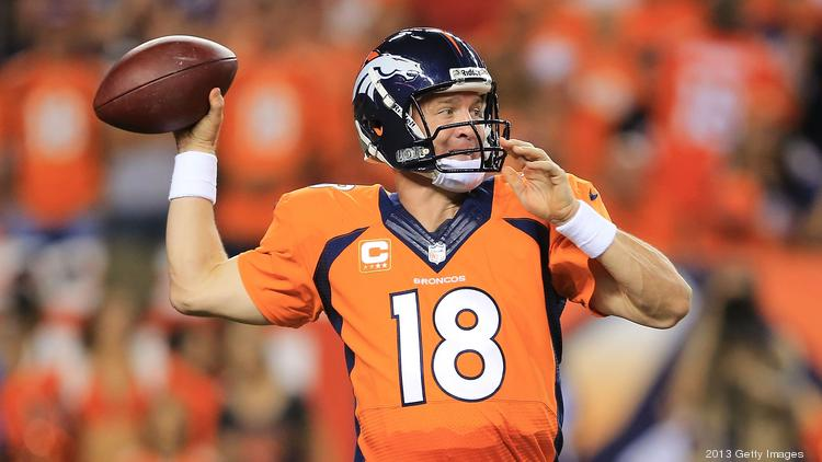 Five-time NFL MVP Peyton Manning of the Denver Broncos will serve as spokesman for Nationwide for the next five years.