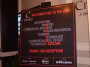 Signage at the Citrus Club entrance welcomes guests to the event.