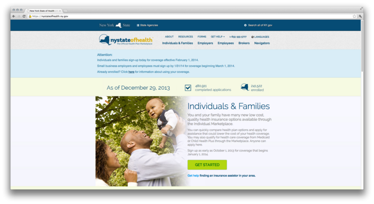 """Screen shot of the homepage for New York state's health insurance marketplace, called an """"exchange."""""""