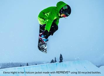 Pictured here is Women's SuperPipe professional athlete and two-time Olympian Elena Hight wearing a jacket made with Unifi's Repreve recycled product.