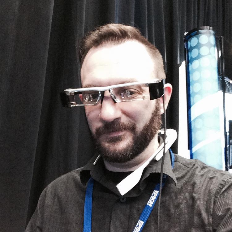 Developer Sean McCracken is presenting new games for wearable computers from Epson at the giant Consumer Electronics Show this week in Las Vegas, Nev.