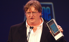 Valve Software CEO, Gabe Newell at the Game Developers Choice Awards, 2010.