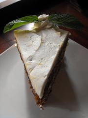 A towering slice of moist carrot cake at Claim Jumper.