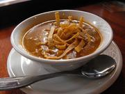 Soup or salad comes with entrees at Claim Jumper. This is tortilla-chicken soup.