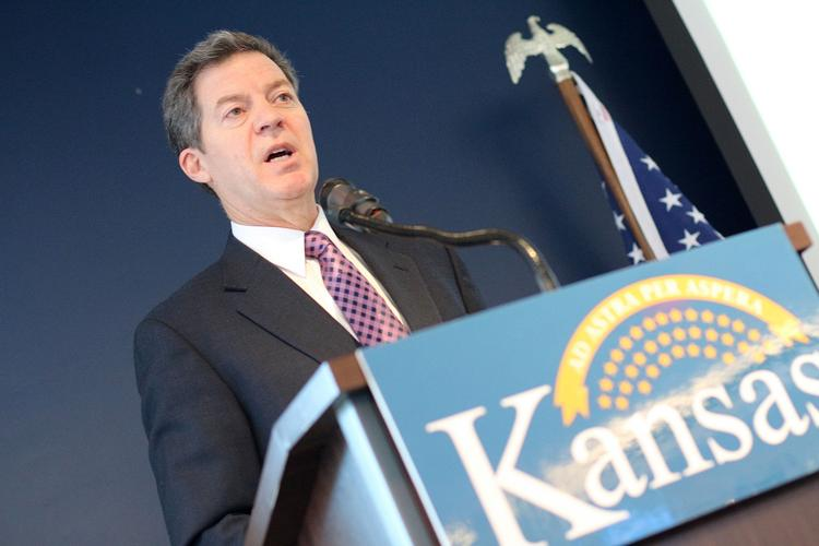 Kansas Gov. Sam Brownback speaks at a forum Tuesday about small business in Kansas. The Commerce Department sponsored the Tuesday forum at Sporting Park in Kansas City, Kan.