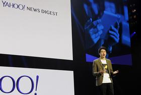 Nick D'Aloisio, product manager for Yahoo! Inc., speaks during a news conference at the 2014 Consumer Electronics Show in Las Vegas on January 7.