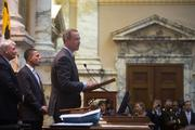 Governor Martin O'Malley speaks to the House of Delegates on the opening day of the 2014 legislative session in Annapolis, Md.