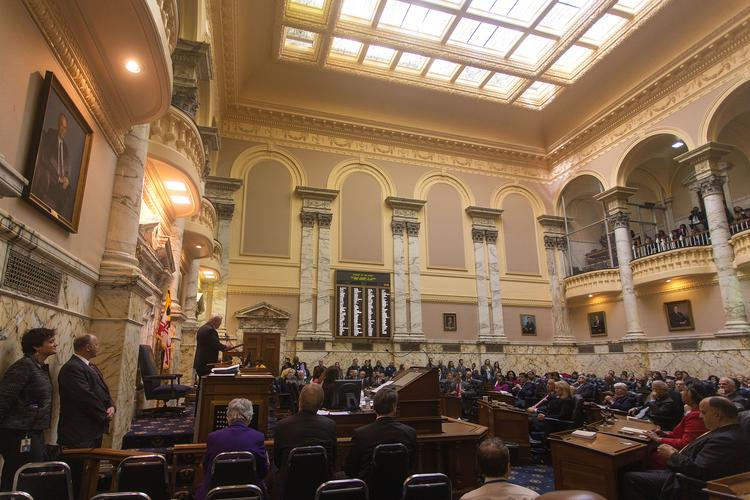 House Speaker Michael Busch addresses the House of Delegates on the opening day of the 2014 legislative session in Annapolis.