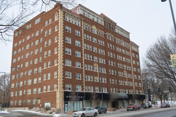 The nine-story, 1920s Ambassador Apartments building is located in midtown Kansas City at 3560 Broadway.