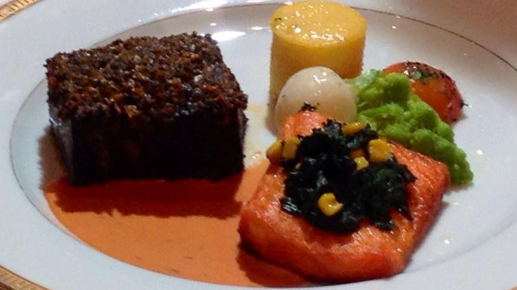 Braised beef short rib and sautéed smoked filet of Atlantic sea trout