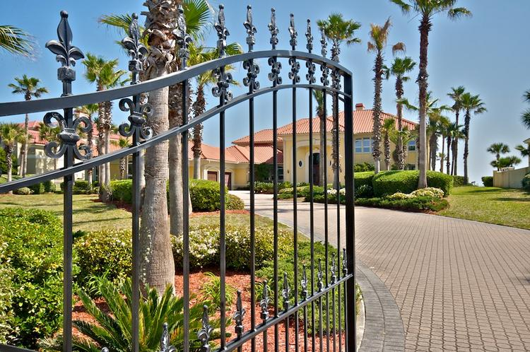 The gated entrance at the luxury oceanfront home on Ponte Vedra Boulevard, listed for sale at $7.9 million.