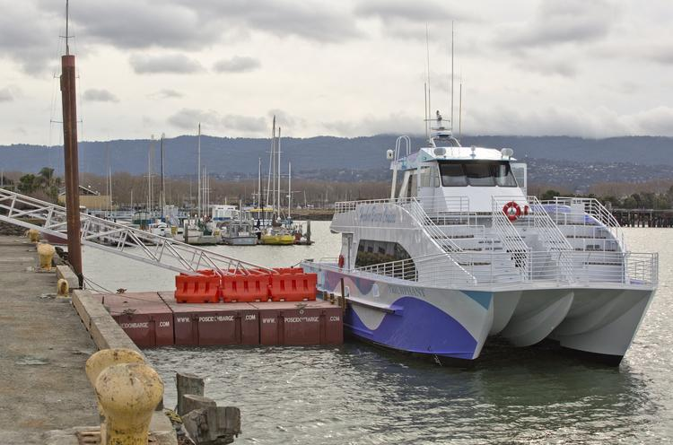 The Google ferry docked at the Port of Redwood City. Google is testing out a 30 day trial program aimed at easing the commute between Redwood City and San Francisco.
