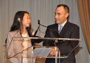 Student Jayleen Chin-Sang, who benefitted from the First Tee charity supported by the tournament, with Eddie Carbone, Executive Director of World Golf Championships Cadillac Championship.