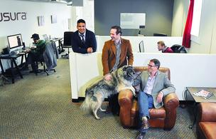 Left to right at Nusura: Fritz Padilla, CTO; Mark Amann, vice president and Jim Chesnutt, president (along with Jim's dog, Bacchus).