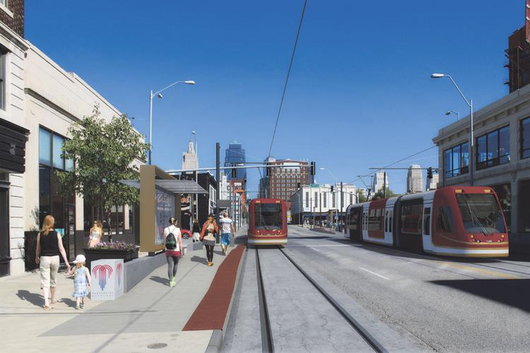 This is an artist's rendering of Spanish rail company CAF's streetcars for Kansas City.