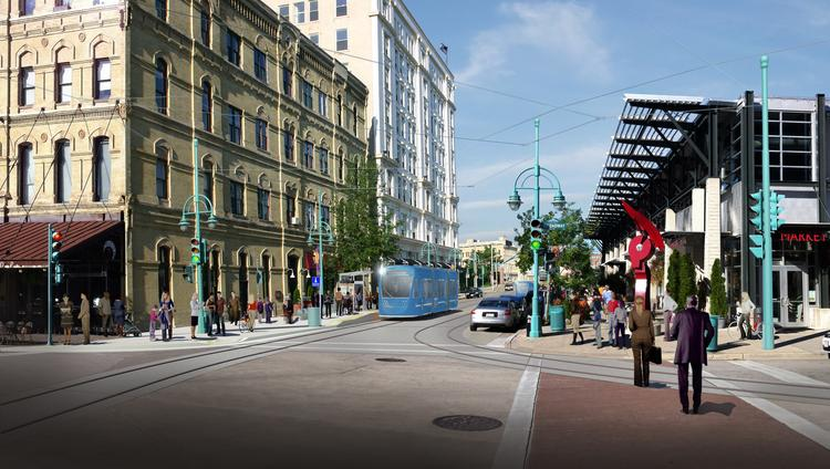 A rendering of a streetcar running past the Milwaukee Public Market on East St. Paul Avenue