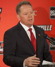 Bobby Petrino making his first statements to the media after being named the new head football coach at the University of Louisville.