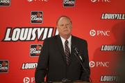 U of L president James Ramsey makes opening remarks at Thursday's news conference.