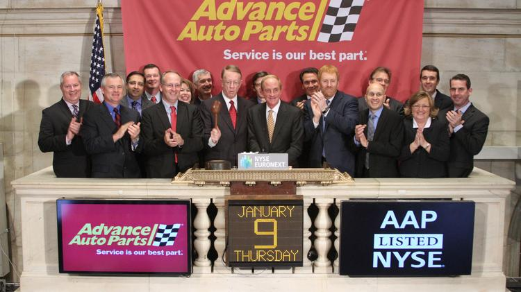 Advance Auto Parts CEO Darren R. Jackson rings the closing bell at the New York Stock Exchange on Jan. 9 in New York City following his company's $2 billion acquisition of Raleigh-based General Parts International on Jan. 2.  (Photo by Dario Cantatore/NYSE Euronext)