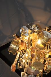 One of the cool chandeliers hanging above the showroom at Lannie's Clocktower Cabaret.