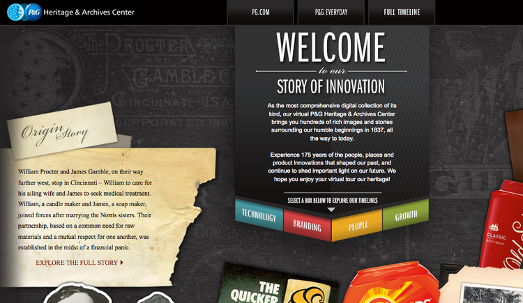Procter & Gamble Co. has launched a new website highlighting its corporate history.